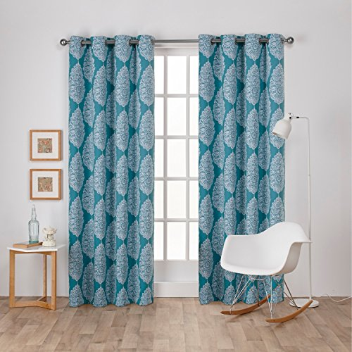 Exclusive Home Curtains Queensland Printed Medallion Sateen Woven Room Darkening Grommet Top Window Curtain Panel Pair, Teal, 52x84 (Teal Curtains Silver)
