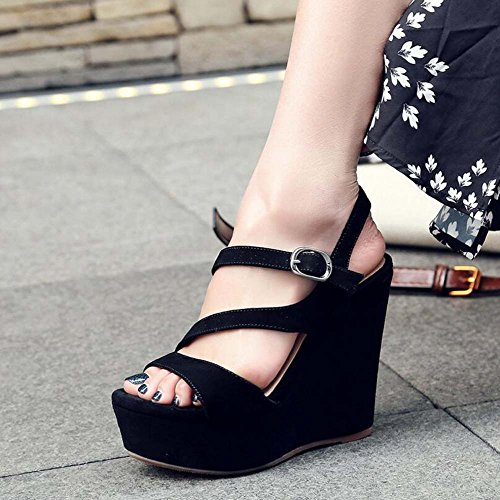 Hebilla Loose Cake Nuevo cuero High SHINIK y Negro Sandalias de Europa de Bottom Verano mujer Roma Zapatos Heels gw4RPq