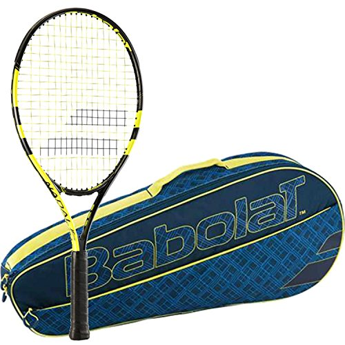 Club Racket Bag - Babolat Nadal Junior 26 Inch Child's Tennis Racquet bundled with a Blue/Yellow Club Three Racquet Tennis Bag