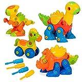 Creative Kids Build & Learn Dinosaur & Horse Toys - Interlocking STEM Play Set for Kids w/4 Buildable Dinosaurs & 4 Screwdriver Tools - Educational Construction Kit for Preschool, Kindergarten,Age 3+