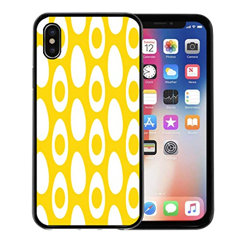 Emvency Phone Case for Apple iPhone Xs Case/iPhone X Case,Yolk White Circle of Eggs Half The Pattern Yellow Soft Rubber Border Decorative, Black ()