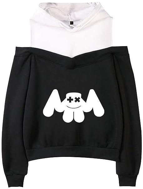 OLIPHEE Sudaderas con capuchacon Fuera del Hombro de DJ Marshmello para Mujer: Amazon.es: Ropa y accesorios