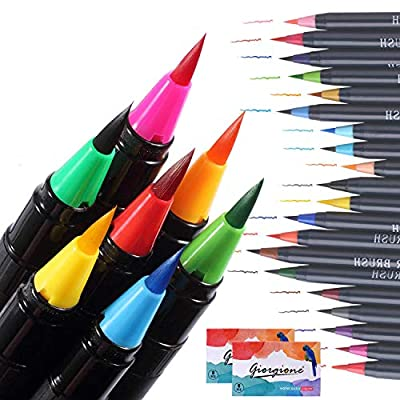 Watercolor Brush Pens,GUOfeudallord 20 Color Paint Brush Markers,Watercolor Pens for Painting Coloring Calligraphy Manga Marker Brushes for Kids Adults Professional
