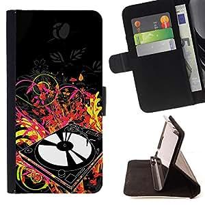 BullDog Case - FOR/Samsung Galaxy S5 Mini, SM-G800 / - / vinyl player dj set music art neon dance disco /- Monedero de cuero de la PU Llevar cubierta de la caja con el ID Credit Card Slots Flip funda de cuer