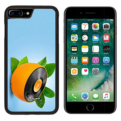 Luxlady Apple iPhone 8 Plus Case Aluminum Backplate Bumper Snap iphone8 Plus Cases Image ID: 23911081 Musical Background with a Vinyl disc and Orange