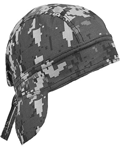 Camouflage Doo Rag Skull Cap Camo Bandana Hunting Hunters Head Wrap (Gray Digital (Digital Woodland Camo Design)