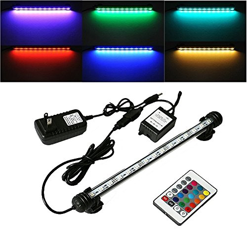 (Gift Pro WaterProof IP68 Energy Saving 18cm 9 LED RGB Aquarium Light Bar for Fish Tank Auarium Light Underwater Submersible Aquarium LED Lamp with Remote (18 cm))