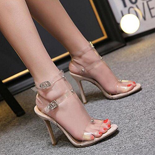 Talons Apricot Nouvelles Chaussures Un Sandales Été Ouvert Cool Creux Orteil Boucles Hauts Transparent Mot Femmes Xdgg OnAZq6X6
