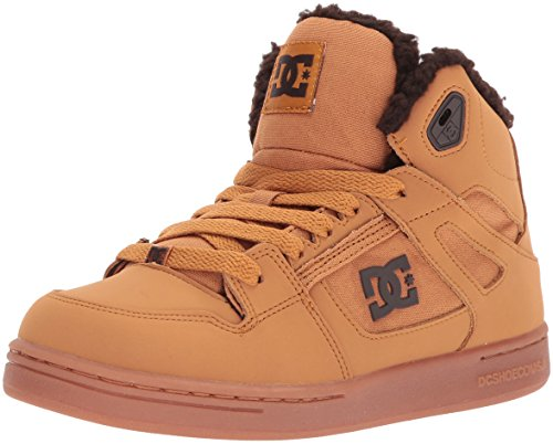 DC Boys Youth Rebound Wnt High Top Skate Shoes, Wheat, 12 M US Little Kid