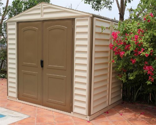 Duramax Woodside 8x6 Vinyl Storage Shed with Foundation Kit
