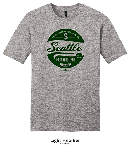 Throwbackmax 1915 PCHA Seattle Metropolitans Hockey Tee Shirt (XL, Light Heather) ()