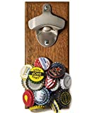 Wall Mount Bottle Opener with Embedded Magnetic Cap Catcher in Solid Wood, Fridge Mountable by CAPLORD - Novelty Beer...