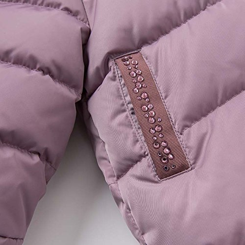 DAVE & BELLA Winter Baby Girls Down Jacket Children White Duck Down Padded Coat Kids Hooded Outerwear - Grey Pink (4T) by DAVE & BELLA (Image #4)