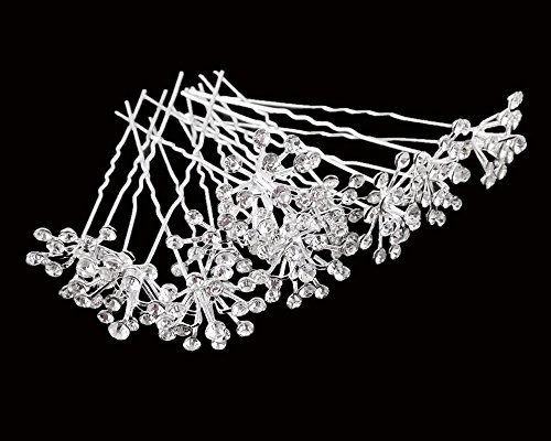 yueton 10pcs Bling Starry Crystal Rhinestone Bridal Wedding Hair Pins Women Headwear Hair Accessories (Clear)