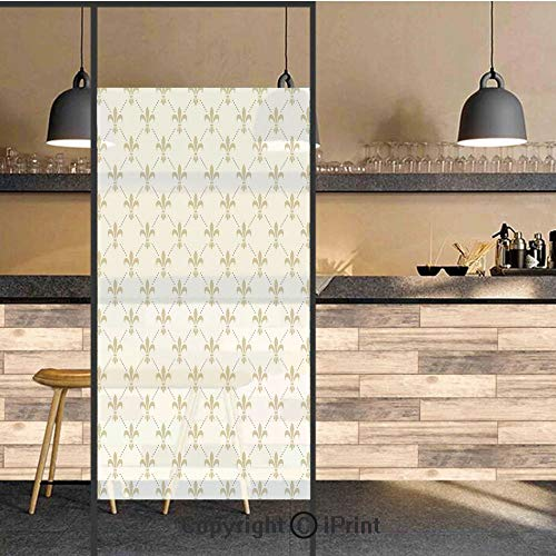 3D Decorative Privacy Window Films,Fleur De Lis Pattern Vintage Stylized Lily Flower Royal Symbol Artistic Design,No-Glue Self Static Cling Glass film for Home Bedroom Bathroom Kitchen Office 24x71 In