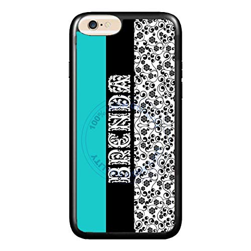 BRGiftShop Personalized Custom Name Traditional Teal Black and White Damask Print Rubber Phone Case For Apple iPhone 6 Plus & iPhone 6s Plus (5.5 Inches Screen)
