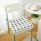 HOMEE the Office Student Automotive Arts Cotton, Linen/Cotton Cushions Dining Chairs with Thin Cushions Anti-Slip Tether Portable ,45X45Cm (Not Tether), 2,005 Small Squares Thin),Black Phillips,45X45