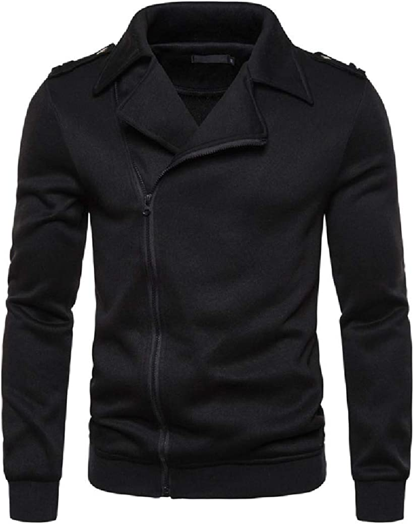 BAYY Mens Zip-up Solid Color Jackets Casual Lapel Sweatshirts