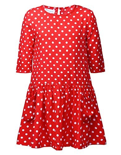 Sharequeen Girls Red Polka Dot Swing Dress Half Sleeves Crew Neck Kids Clothing Pockets SQ8240 (4-5 Years, Red-2)