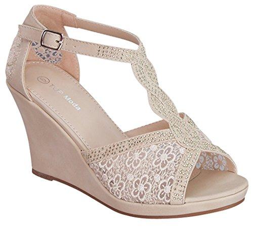 Top Moda Lord-8 Women's Platform Wedge Heel Peep Toe Criss Cross Sandals,Beige,10