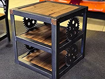 STEAMPUNK HOTROD END TABLE WITH GEARS