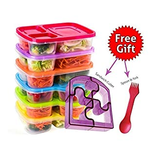 Bento Lunch Box 3 Compartment Food Containers – Set of 6 Storage meal prep Container Boxes– Ideal for Adults, Toddler, Kids, Girls, and Boys – Free 2-in-1 Fork/Spoon & Puzzle Sandwich Cutter