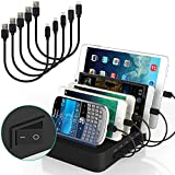 IMLEZON 5 Port Black Charging Station for Apple Products and Android Devices Tablets ( With 5 Short Cables)
