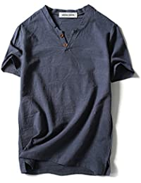 Men Linen and Cotton V neck Short Sleeve T Shirts Casual Tee