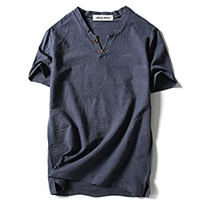 LOCALMODE Men Linen and Cotton V Neck Short Sleeve T Shirts Casual Tee