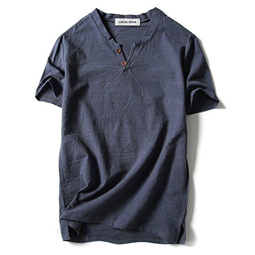 LOCALMODE Men Linen and Cotton V Neck Short Sleeve T Shirts Casual Tee Gray Blue XL (Vintage Shirts Men)