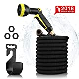 #6: Garden Hose 50ft- Expandable Water Hose Garden hose with 9 Function Spray Nozzle, Triple Latex Core, 3/4 Solid Brass Expanding Water Hose with Storage Bags & Hanger-No Leak (Black)