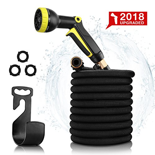 Garden Hose 50ft- Expandable Water Hose Garden hose with 9 Function Spray Nozzle, Triple Latex Core, 3/4 Solid Brass Expanding Water Hose with Storage Bags & Hanger-No Leak (Black)