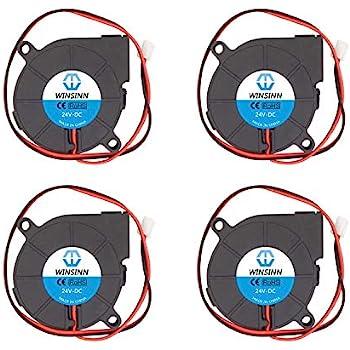 WINSINN 50mm Blower Fan 24V 5015 50x15mm Turbine Turbo Brushless Cooling for DIY 3D Printer Extruder Hotend MK2 MK3 MK7 MK8 (Pack of 4Pcs)