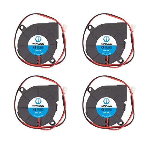 WINSINN 5015 24V DC Brushless Cooling Blower Fan 50x50x15mm For DIY 3D Printer Extruder Hotend Makerbot MK7 MK8 CPU Chip Arduino - 2Pin 0.1A 2.4W 6200+-10% RPM (Pack of 4Pcs)