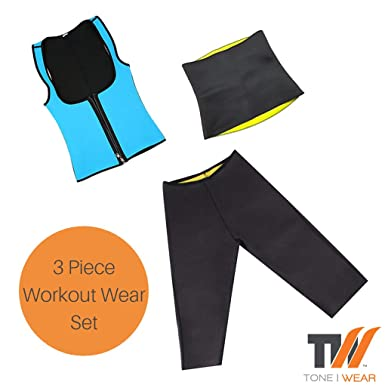 20e8e68479 Amazon.com: Tone Wear Hot Slimming Neoprene Gym Clothing Set for Woman | 3  Pack Includes Capri Pants, Hip Waist Wrap and Blue Zip Top: Clothing