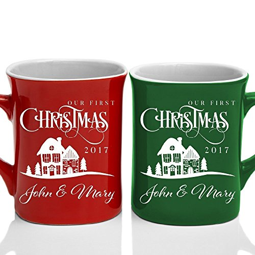 First Christmas Mug (Be Burgundy - Our First Christmas 2017 & Names Couple Matching Coffee Mug Premium Engraving 10 oz. White Ceramic, Christmas Gift Hot Chocolate Mug - Laser Engraving - 7 Color - Valentine's Day Gift)