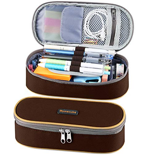 Homecube Pencil Case Big Capacity Waterproof Pencil Bag Oxford Make-up Pen Pouch Durable Stationery Bag Pen Holder for Man & Women, Brown