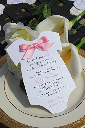 Set of 10 Pink Satin Bow Girl Baby Shower Invitations - All Wording -