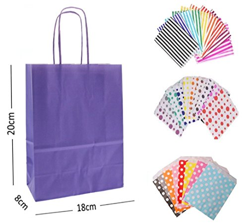 1 x PURPLE PARTY PAPER GIFT BAGS – WITH MATCHING CANDY STRIPE SWEET BAG