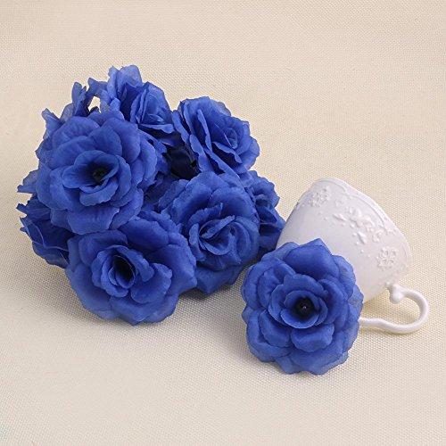 LIYUDL 20pcs Artificial Silk Roses Flower Heads, Artificial Flowers Heads for Wedding Flowers Accessories Make Bridal Hair Clips Headbands Dress - Royal Blue (15 Colors) ()