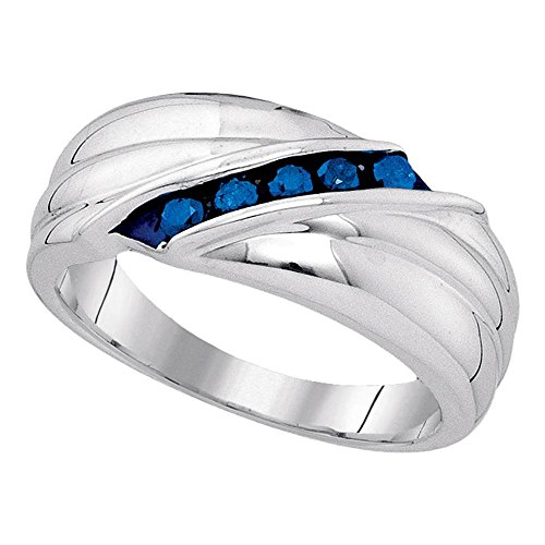 25-925 Sterling Silver Blue Round Diamond Mens Wedding Band Ring - Channel Setting (1/3 cttw.) ()