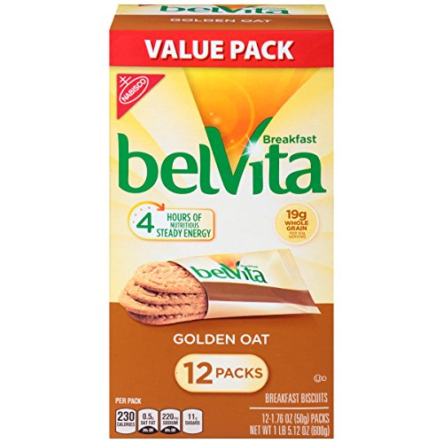 belVita Golden Oat Breakfast Biscuits, 12 Count Box, 21.12 Ounce