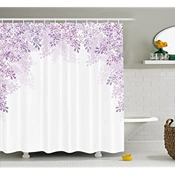 Ambesonne Flower Shower Curtain Framing Lilac Flowers In Blossom Vernal Season Soothing Color Shades Fabric Bathroom Decor Set With Hooks 70 Inches