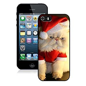 Recommend Design Christmas Wearing White Fur Lovely Cat Black Phone Case For Iphone 5s,Iphone 5 TPU Case,Apple Iphone 5s