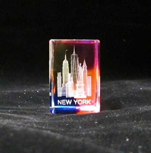 New York Souvenir NYC Skyline 3D Color Crystal Laser Etched Glass Paperweight with Statue of Liberty Empire State Building Freedom Tower USA Flag Mini Size - Avenue 5th Stores Nyc