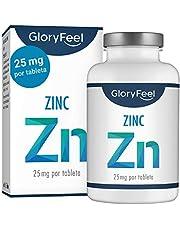 GloryFeel® Zinc 25mg 400 Tabletas - Alta dosificación y vegano - 25 mg de Zinc elemental procedente de gluconato de zinc puro para 1 año - Probado en laboratorio sin aditivos - Hecho en Alemania