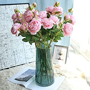 Rm.Baby 1Pcs Artificial Fake Flowers Rose Peony Floral Real Touch Cloth Material Arrangement Bouquets Bridal Hydrangea Home Garden Decor Room Office Centerpiece Party Wedding Decor 12