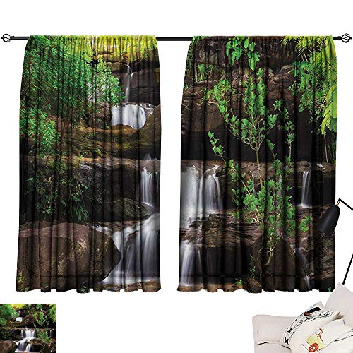 Waterfall Thermal Insulated Drapes for Kitchen/Bedroom Little Waterfalls Flow on Rock Stairs Surrounded by Long Plants Earth Noise Reducing