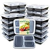 #10: Enther Meal Prep Containers [20 Pack] 3 Compartment with Lids, Food Storage Bento Box | BPA Free | Stackable | Reusable Lunch Boxes, Microwave/Dishwasher/Freezer Safe,Portion Control (36 oz)