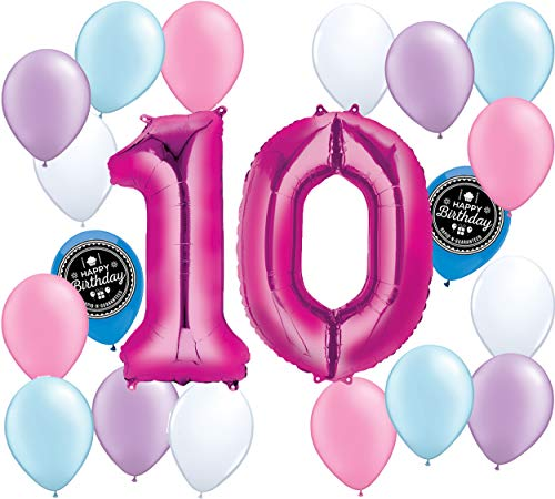 Choose Your Own Age (1-50th) Girls Party Supplies Balloon Decoration Bundle for Any Girls Happy Birthday Theme (10th Birthday)